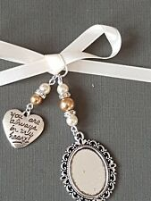 "Wedding Bouquet Photo Charm Oval Silver Locket & ""always in heart"" gold/ivory"