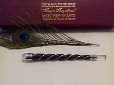 Spiral Wooden Wand Rosewood and rock quartz healing crystal Witches magic wand