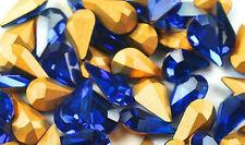 SWAROVSKI ® -Goccia 20 Pz  4300/2-13x7,8 mm. Capri Blue Original Gold Foiled