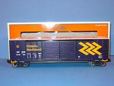 LIONEL - # 6 - 27223  -  ONTARIO  NORTHLANDS  DD BOXCAR  w/  AUTO  FRAME  LOAD