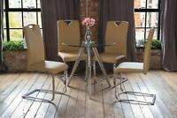 SKYE Luxury Glass Dining Table Set Chrome with 4 Stunning Caramel Elio Chairs