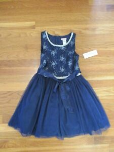 NEW Nanette Lepore girls navy blue TULLE DRESS silver sparkle party holiday 12