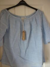 Fat Face Chambray Louisa Textured Cotton Bardot Top. UK 12 EUR 40 US 8.