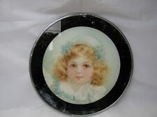 """New listing Vintage Glass Flue Cover Young Girl Portrait 8 3/4""""- Late 1800's Early 1900's"""