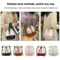 Hit Color Shoulder Handbags PU Leather Women Lattice Bucket Crossbody Bags Tote