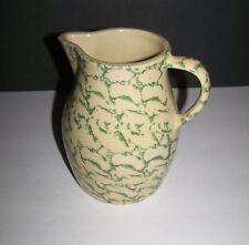 Ransbottom Pottery Ohio 1 QT Green Sponge Pottery Pitcher