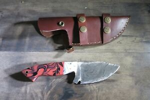 Damascus Tracker Caper Survival knife with Ceramic  stocks & leather sheath