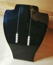 Long Freshwater Pearl Threader Earrings, 925 Sterling Silver