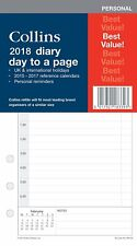Collins 2018 Personal size Diary Day to a Page Refill Insert PR2100-18