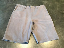 Men's DC Straight Fit Blue Gray Flat Front Chino Bermuda Shorts Size 32