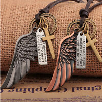 Gothic Mens Womens Stylish Jewelry Angel Wing Leather Necklace Charms Pendant hs