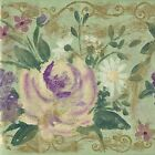 Big Bold Wildflowers - Purple Gold Sage Green - ONLY $6 - Wallpaper Border A240
