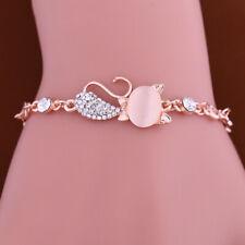 Cat Pendant Bracelet Chain Jewelry Women Ladies Opal Rhinestone Bangle