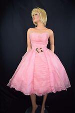 Vintage 50's Pink Silk Chiffon Atomic Rockabilly Swing Prom Cocktail Dress Sz 4