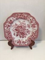 Spode Archive Collection Blue Rose Salad Plate Porcelain Red Flowers