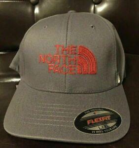 The North Face Never Stop Exploring Flex Baseball Cap Hat Asphalt Grey Red S/M