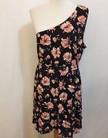 DR2 By Daniel Rainn Women's Large Black Pink Floral One Shoulder Shift Dress