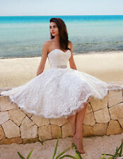 Short Lace Beach Wedding Dress Bridal Gown Custom Size 2 4 6 8 10 12 14 16 18 20