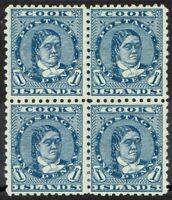 COOK ISLANDS 1893 QUEEN 1D BLUE BLOCK WMK UPRIGHT PERF 11
