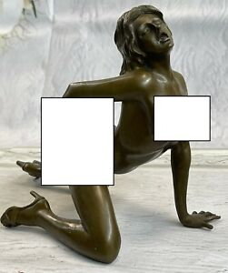 Highly Erotic Fully Nude Female Sexy Pose Bronze Metal Figurine Sculpture Art