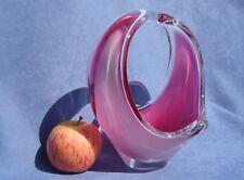 Flygsfors Vintage Crystal Pink Art Glass Designed by Paul Kedelv Signed 1959