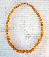 ANTIQUE BALTIC Natural Amber Necklace Honey Butterscotch Graduated Beads 51gr
