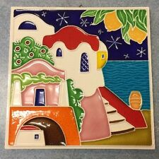 Vietri pottery-6x6 inch Tile Amalfi Coast scenery.Made/Painted by hand in Italy