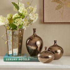 Metallic Bronze Vase Set ~ 3 Piece Ceramic ~ Flower Decorative Display, Handmade
