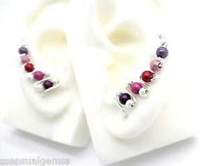 Illuminating Bead Silver Plated Pressed Cuff Wrap Earrings Trails up Ear New