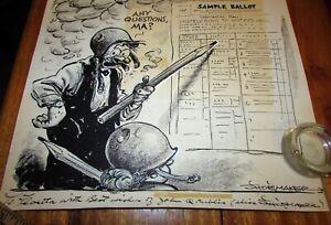 2 1959 Original Vaughn Shoemaker Pulitzer Editorial Cartoonist Drawings Signed