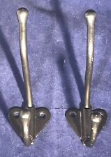 Pair Of Black Metal Decorative Coat Hat Hooks
