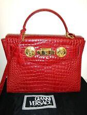 GIANNI VERSACE Hand Bag crocodile Leather Vintage rare medusa 100&genuine