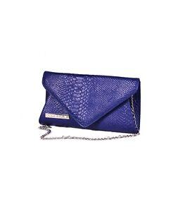 Pochette Donna elegante in vera Pelle Victoria borsetta - blu elettrico stampato