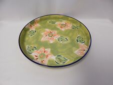 Green Floral Serving Dish, Chip Dish, Hand Painted in Thailand