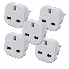 5 x UK TO EUROPE TRAVEL ADAPTER PLUG  CONVERTER EUROPEAN 3 TO 2 PIN