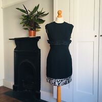 Vintage 60s Black Fitted Lace Ruffle Sparkly Silver Brocade Hem Mini Dress 8
