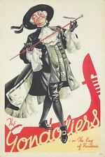 Original Vintage Poster Theater England Gondoliers King Gilbert Sullivan Opera