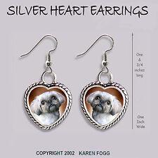 Shih Tzu Lhasa Apso Dog Shih-Lhasa - Heart Earrings Ornate Tibetan Silver
