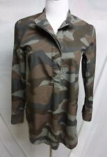 Madewell Camo Cotton Half Button Stand Collar Blouse Top S