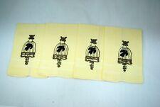 4 Vintage Linen Gold Bullion Bird Cage Design Finger Tip Towels