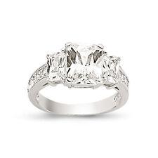 9CT GOLD LADIES CUBIC ZIRCONIA CZ HALF ETERNITY ENGAGEMENT BAND WEDDING RING BOX
