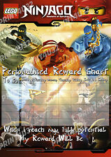 Lego Ninjago Reward Chart Reusable Personalised & lego head stickers & pen