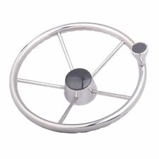 Boat Stainless Steel 13-1/2'' Steering Wheel 5 Spokes 25 Degree with Knob Marine