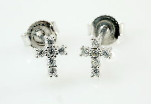 925 Silber Ohrstecker kleine Kreuze 1 Paar 6 x 4,5 mm  mit Zirkonia Steinen