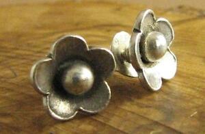 Fine silver, tiny flower earrings. Studs. Sterling silver butterflies.