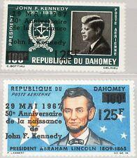 DAHOMEY 1967 313-14 C55-56 50th Ann Birth of President Kennedy Lincoln ovp MNH