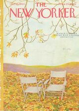 1964 Ilonka Karasz ART COVER ONLY -Two Lawn Chairs among the Fall Leaves
