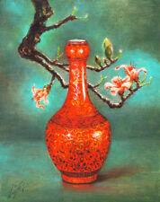 Original Still Life Oil Painting ANTIQUE CHINA VASE Artist Signed