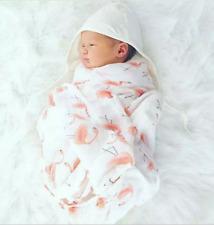 """Cotton Muslin Baby Swaddle Blanket Wrap Newborn 120x120cm 47"""" x 47"""" Flamingo"""