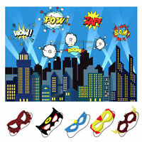 5x7ft City Photography Backdrop & Superhero Party Masks Kid Birthday Party Decor
